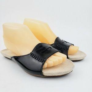 Lands End Black Slides Sandals 7 M